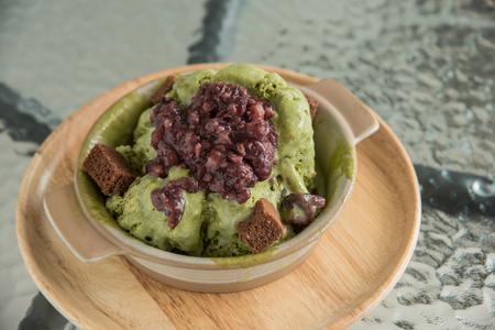 parfait: Green tea parfait ice-cream with red bean sauce