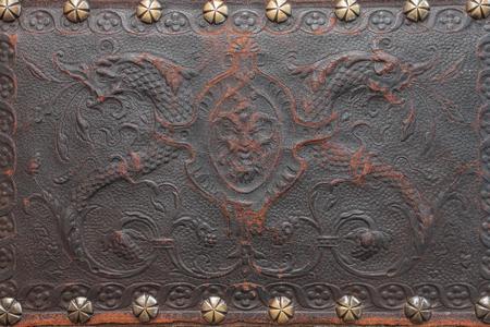 가죽 오래 된 패턴 배경 및 리벳 황동 스톡 콘텐츠