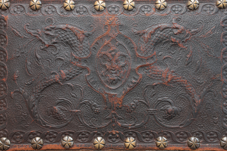 tooled: Leather old pattern background and rivet brass