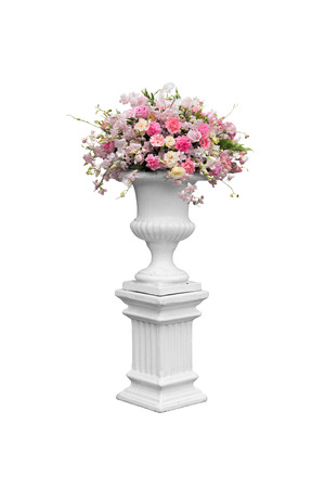 Column With Flower Marble Vase Isolated Stock Photo Picture And