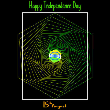 Vector illustration. Creative Indian National Flag colour background with Ashoka Wheel. 15 th of August for Happy Independence Day of India celebration.