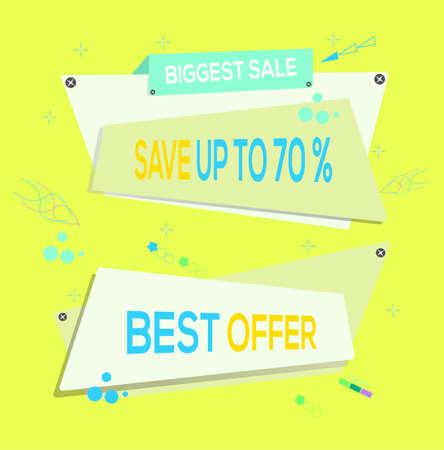 Vector illustration. Biggest Sale Save Up To 70% OFF. Best Offer. Banner Design Template. Special Discount