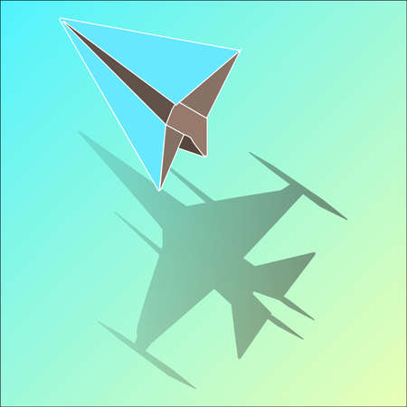 Unique blue isometric paper plane when in the shadow change to be awesome Fighter aircraft icon Vector Illustration