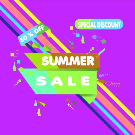 Vector illustration. Summer Sale Banner Design Template. Special Discount 50% OFF 向量圖像