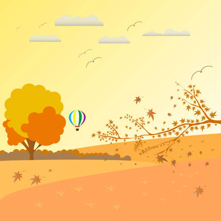 Autumn landscape with tress, balloon air, leaf, fall leaves, dry grass on october season. Vector Illustration Background