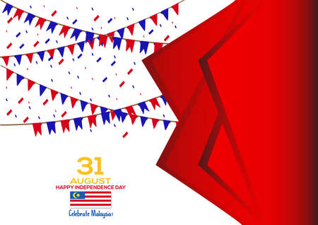 31 August - Vector illustration Malaysia Independence Day Patriotic Design. Happy Independence Day Vector Greeting Card. Illustration