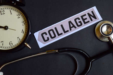 Collagen on the print paper with Healthcare Concept Inspiration. alarm clock, Black stethoscope.