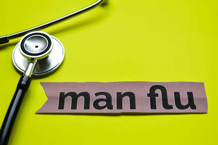 Closeup man flu with stethoscope concept inspiration on yellow background Imagens