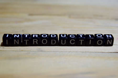 Introduction message written on wooden blocks. education and motivation concepts. Cross processed image on Wooden Background