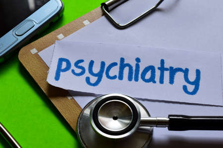 Psychiatry on healthcare concept inspiration with green background Imagens
