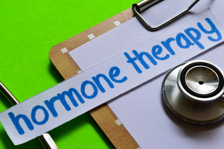 Hormone therapy on healthcare concept inspiration with green background