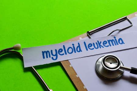 Myeloid leukemia on healthcare concept inspiration with green background