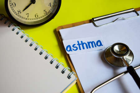 asthma on healthcare concept inspiration on yellow background