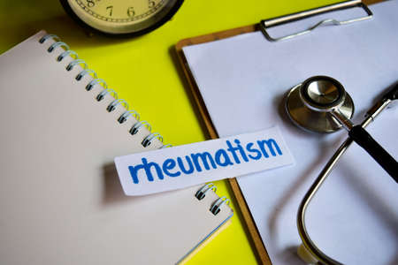 Rheumatism on healthcare concept inspiration with yellow background