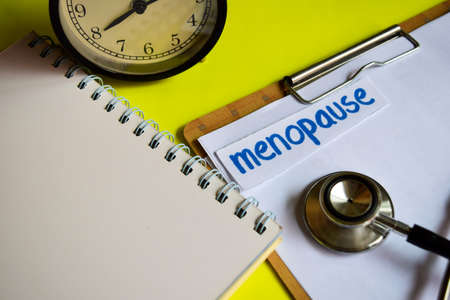 Menopause on healthcare concept inspiration on yellow background