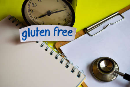 Gluten free on healthcare concept inspiration on yellow background