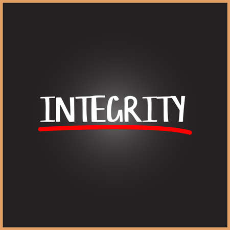 INTEGRITY word on education, inspiration and motivation concepts. Vector illustration. EPS 10 Çizim