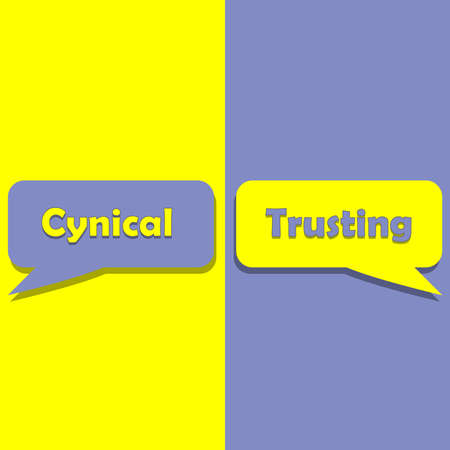 Cynical or Trusting on word on education, inspiration and business motivation concepts. Vector illustration. EPS 10 Illustration