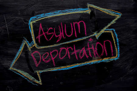 Asylum or Deportation written with color chalk concept on the blackboard