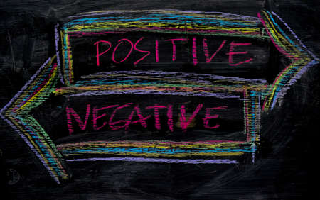Positive or Negative written with color chalk concept on the blackboard