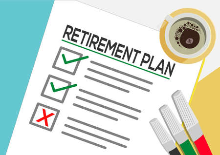 Retirement Plan or planning icon concept. One task failed. Paper sheets with check marks, abstract text and marker. Cup of Coffee Vector flat illustration isolated on color background