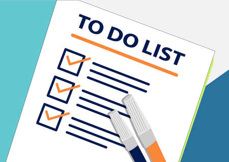To Do List Plan or planning icon concept. One task failed. Paper sheets with check marks, abstract text and marker. Cup of Coffee Vector flat illustration isolated on color background Ilustrace