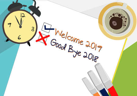 Welcome 2019 - Good Bye 2018 plan icon concept. Paper sheets with alarm clock and cup of coffee, abstract text and marker. Vector flat illustration isolated on color background Ilustrace