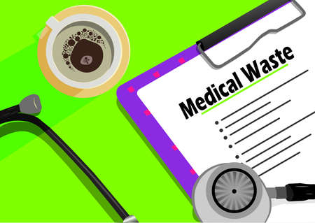 Medical Waste text on paper clip board, cup of coffee and stethoscope. Schedule or reminder planning with healthcare concept 스톡 콘텐츠 - 113053789