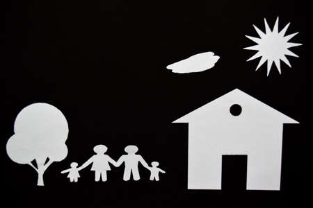 concept image of make your a house. Paper cut of family with house and tree Stock Photo - 113053952