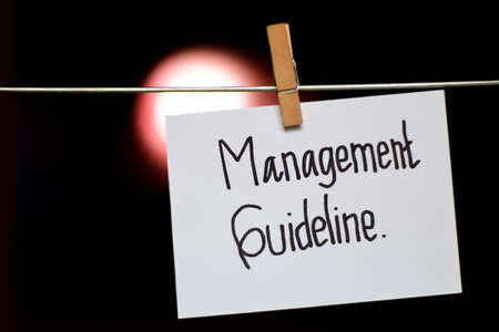 Management Guideline handwriting on paper. Hanged with a clothes clips, medical and education concept. light blur background