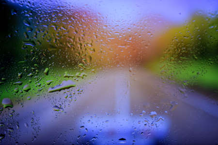 Water drops close up. Abstract bokeh background of waterdrops, droplets. Stock Photo