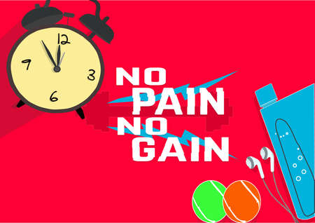 no pain no gain. Fitness motivation quotes. Sport concept. Vector illustration EPS. 10