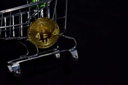 Bitcoin gold and shopping cart on black background. Bitcoin outside a shopping cart. Business concept