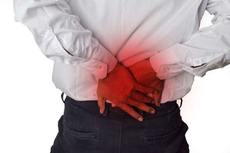 Feels pain in the small of the back. Back Pain, Physical Injury