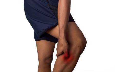 Man calf pain with an anatomy injury caused by sports accident or arthritis. Massaging painful leg calf. Joint injury or disease concept