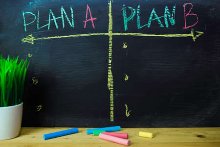 Plan A or Plan B written with color chalk concept on the blackboard