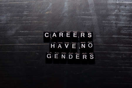 Careers have no genders on wooden blocks. Education, Motivation and inspiration concept Stock fotó