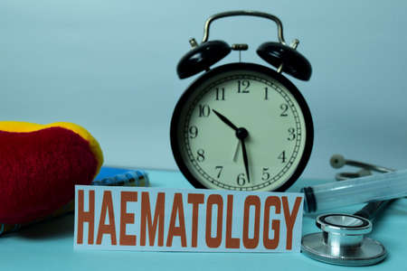 Haematology Planning on Background of Working Table with Office Supplies. Medical and Healthcare Concept Planning on White Background