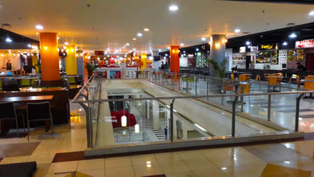 BEKASI, WEST JAVA, INDONESIA. MAY 16, 2019: interior at Food coure Mall Bekasi Square inside the shopping center. Bekasi Square shopping center is the second largest mall in Indonesia.