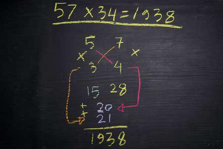 Close-up wiskundige formules geschreven op een schoolbord. onderwijs concept Stockfoto