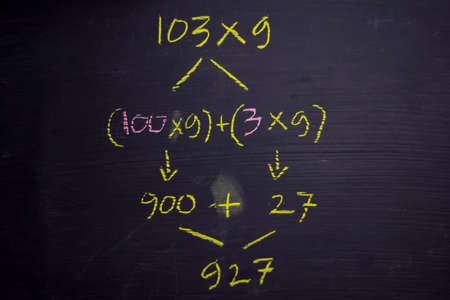 Close up math formulas written on a blackboard. Education concept Stock Photo - 123076564