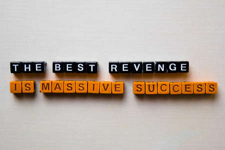 The Best Revenger is Massive Success on wooden blocks. Business and inspiration concept Banque d'images - 123157283