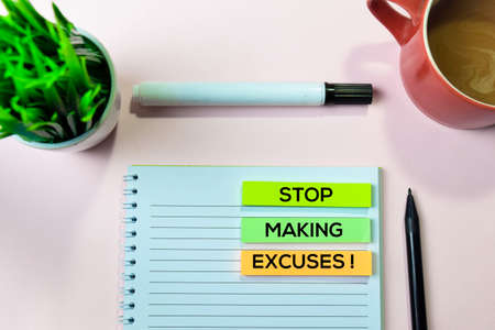 Stop Making Excuses! text on sticky notes with office desk concept Reklamní fotografie - 124706681