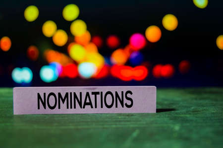 Nominations on the sticky notes with bokeh background Stock Photo