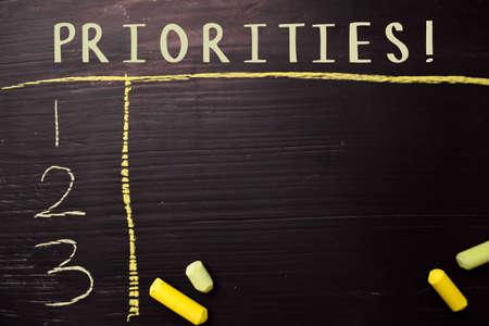 Priorytety! napisane kolorową kredą. Obsługiwane przez dodatkowe usługi. Koncepcja tablicy