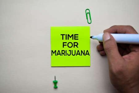 Time For Marijuana text on sticky notes with office desk concept Zdjęcie Seryjne