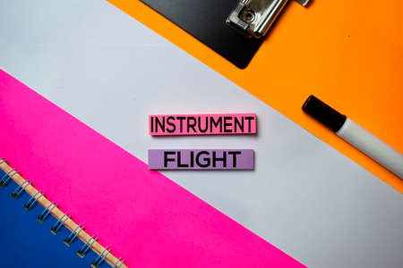 Instrument Flight text on sticky notes with color office desk concept Archivio Fotografico - 126201664