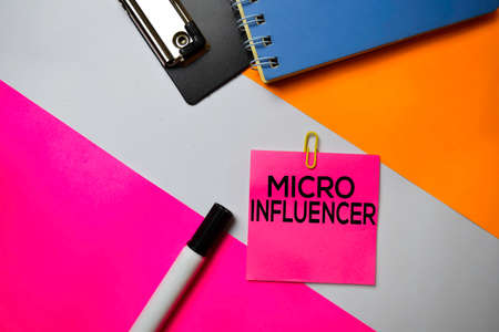 Micro Influencer text on sticky notes with color office desk concept Stock Photo