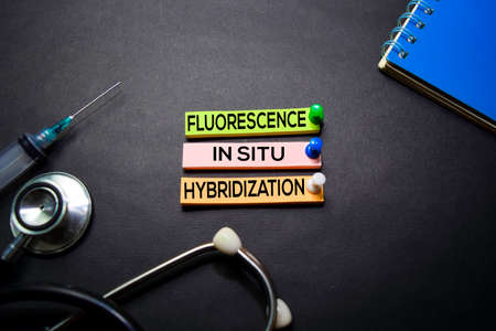 Flourescence In Situ Hybridization (FISH) text on Sticky Notes. Top view isolated on black background. HealthcareMedical concept