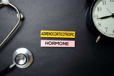 Adrenocorticotropic Hormone text on Sticky Notes. Top view isolated on black background. HealthcareMedical concept